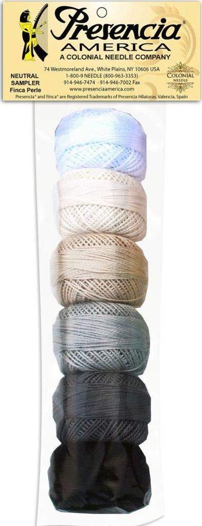 Presencia Pearl Cotton Thread Sampler - Sashiko, Embroidery & Quilting - Neutral Sampler - Size 8 - 6 Colors - 77 yard balls by Presencia