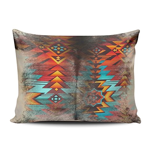 (Fanaing Bedroom Custom Decor Distressed Cowhide and Western Print Design Pillowcase Soft Zippered Red and Turquoise Aqua Pillow Cover Cushion Case Fashion Design One-Side Printed Boudoir 12X16 Inches)