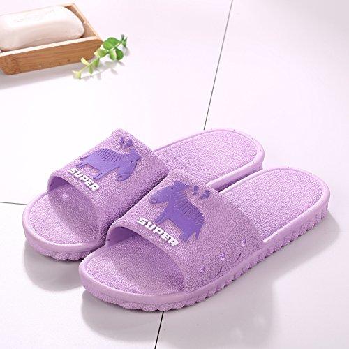 fankou Summer Sandals Men Tide Bathroom Bath Anti-Slip Thick Outside The Home Interior Cool Slippers,37-38, [Purple]
