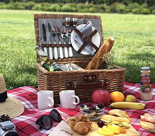 Picnic Basket for 2, Willow Hamper Set with Insulated Compartment, Handmade Large Wicker Picnic Basket Set with Utensils Cutlery – Perfect for Picnicking, Camping, or any Other Outdoor Event