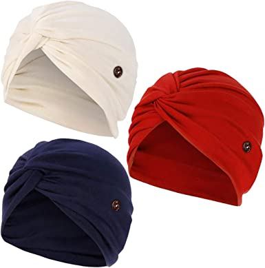 Luckystaryuan /® 3Pack Chemo Scarf Soft Stylish Cap Pre-Tied Cancer Headwear for Women