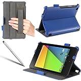i-Blason Google The New Nexus 7 2 II (2nd Generation) Slim Folio Book Auto Wake / Sleep Shell Stand case Cover with Elastic Hand Strap, Stylus Loop & Bonus Stylus (3 Year Warranty)-Blue