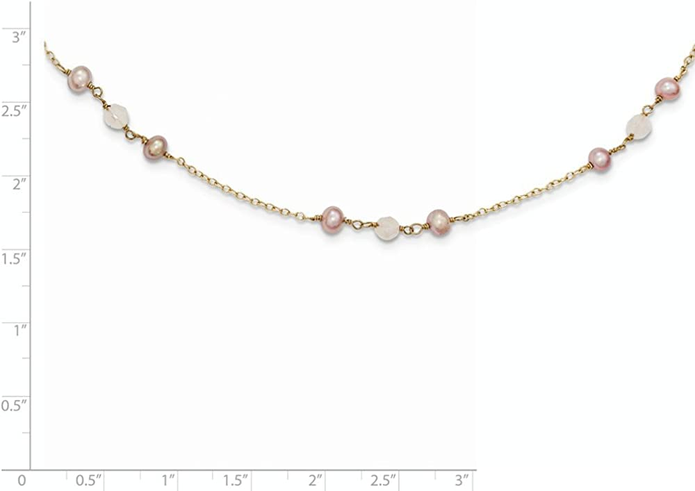 FB Jewels Solid 14K Fw Cultured Pearl /& Rose Quartz W//Cable Chain 1 In Ext