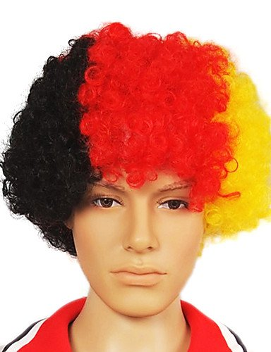 [Wigs have an attractive convenience fashion Capless Football Fans Party Wig(Germany's Flag Colors)] (Halloween Costume Ball Nyc)