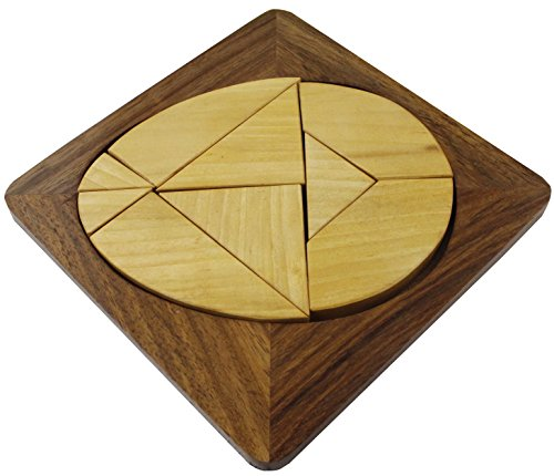 Christmas Game Gift Ideas Handmade Wooden 9 Pieces Tangram Egg Shape Puzzle Brain Teasers - 6 Inch (Christmas Craft Ideas Wooden)