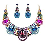 BriLove Costume Fashion Jewelry Set for Women Crystal Teardrop Hollow Scroll Statement Necklace Dangle Earrings Set Multicolor Colorful Gold-Toned