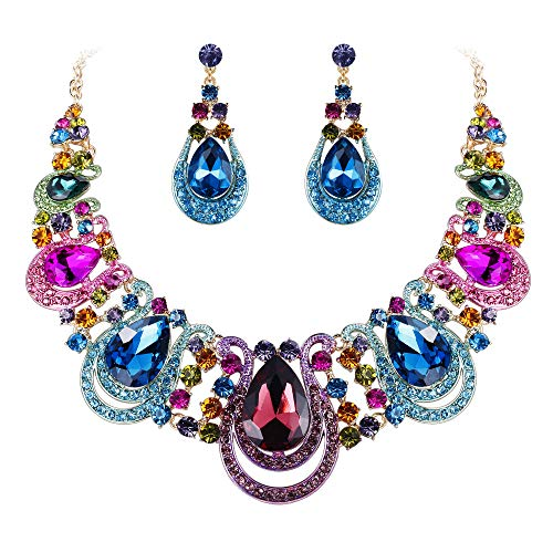 - BriLove Costume Fashion Jewelry Set for Women Crystal Teardrop Hollow Scroll Statement Necklace Dangle Earrings Set Multicolor Colorful Gold-Toned