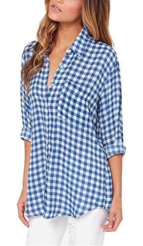 Bleu T Chemisiers Casual Manches Automne Treillis Shirts Monika Fashion Printemps Revers Longues Shirt Femme Tops Blouse et 6qwwx5XTa
