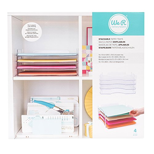 We R Memory Keepers 4 Piece 12 x 12 Inch Stackable Trays Storage (660476)