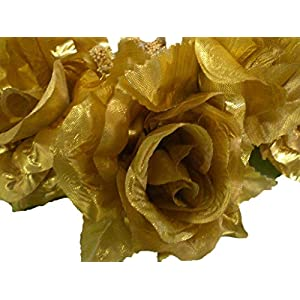 3 Candle Rings Roses Center Pieces Artificial Silk Flowers 4005 GOLD 32