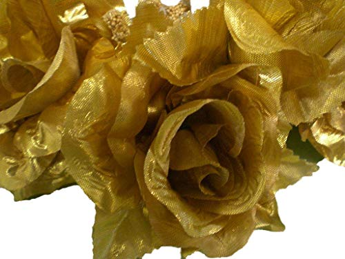 (3 Candle Rings Roses Center Pieces Artificial Silk Flowers 4005 GOLD)