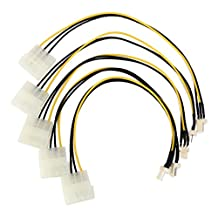 5pcs 4-Pin Molex/IDE to 3-Pin CPU/Case Fan/Chasis Power Connector Cables