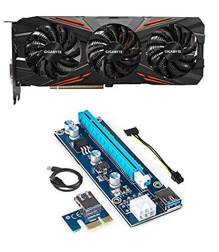 Gigabyte GeForce GTX 1070 Ti GAMING 8GB Graphics Card and PCI-E Riser for ETH Etheruem ZEC Zcash XMR Monero Cryptocurrency Mining