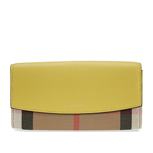Burberry House Check and Leather Continental Wallet - Citrus Yellow