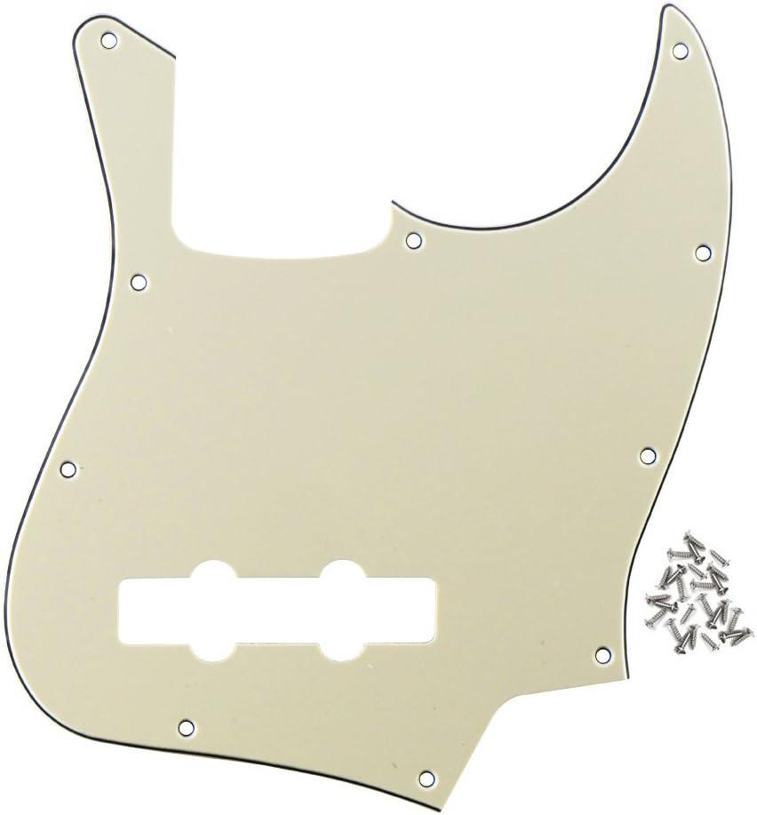 FLEOR 10 Hole Jazz Bass Pickguard para Fender Reemplazo de accesorios de parte de guitarra eléctrica Jazz Bass estándar estadounidense/mexicano, reemplazo de 3 capas, crema, tornillos de montaje