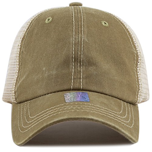 THE HAT DEPOT Low Profile Pigment-Dyed Cotton Mesh Cap (Khaki) (Beige Mesh Hat)