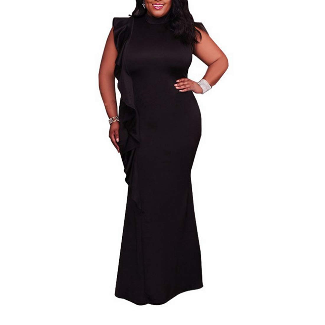 Black Sububblepper Women's Plus Sleeveless Ruffle Solid Bodycon Long Maxi Dress Party Dresses (color   Black, Size   XXL)