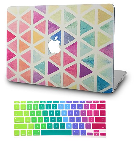 """KECC Laptop Case for MacBook Pro 13"""" (2020/2019/2018/2017/2016) w/Keyboard Cover Plastic Hard Shell A2159/A1989/A1706/A1708 Touch Bar 2 in 1 Bundle (Color Triangles)"""