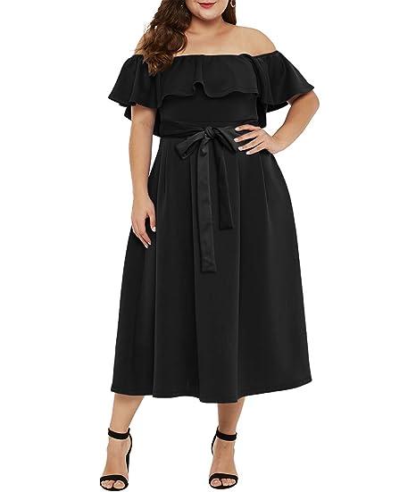 2a92bd0e2a7f Lalagen Womens Off Shoulder Ruffle Plus Size Cocktail Party Swing Midi Dress  Black XL