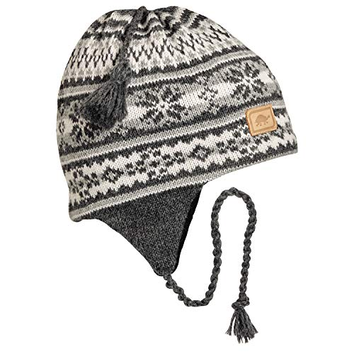 Turtle Fur Women's Nighthorse, Classic Wool Ski Earflap Hat, Charcoal Heather