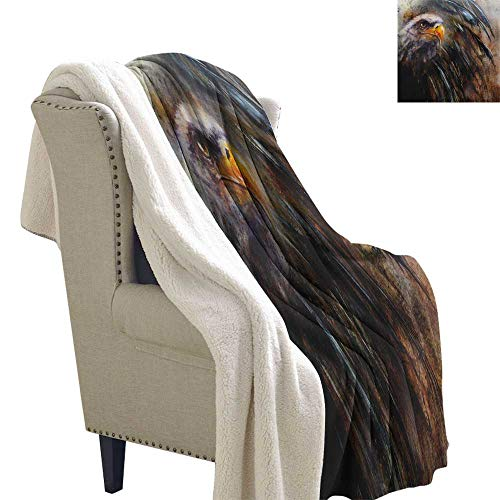 Suchashome Eagle Warm Breathable Comforter for Girls Kids Adults Painting Style Bird with Black Feathers on Abstract Backdrop Symbol of USA Cozy Flannel Blanket 60x78 Inch Brown Black Orange ()