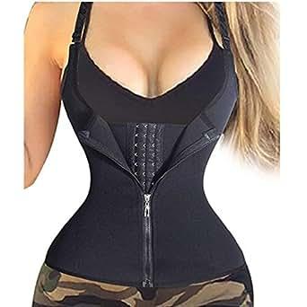 VESNIBA Women's Zipper Sweat Sauna Body Shaper Slimming Vest Waist Trainer Tank Top Shirt Black Small