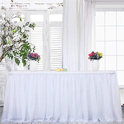 Snowflake Table Decorations - Haperlare 9ft Tablecloth White Tulle Table