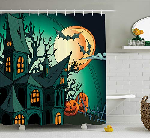 Ambesonne Halloween Decorations Shower Curtain Set, Haunted Medieval House Theme Cartoon Bats in Twilight Gothic Fiction Spooky Art, Bathroom Accessories, 75 Inches Long, Orange Teal