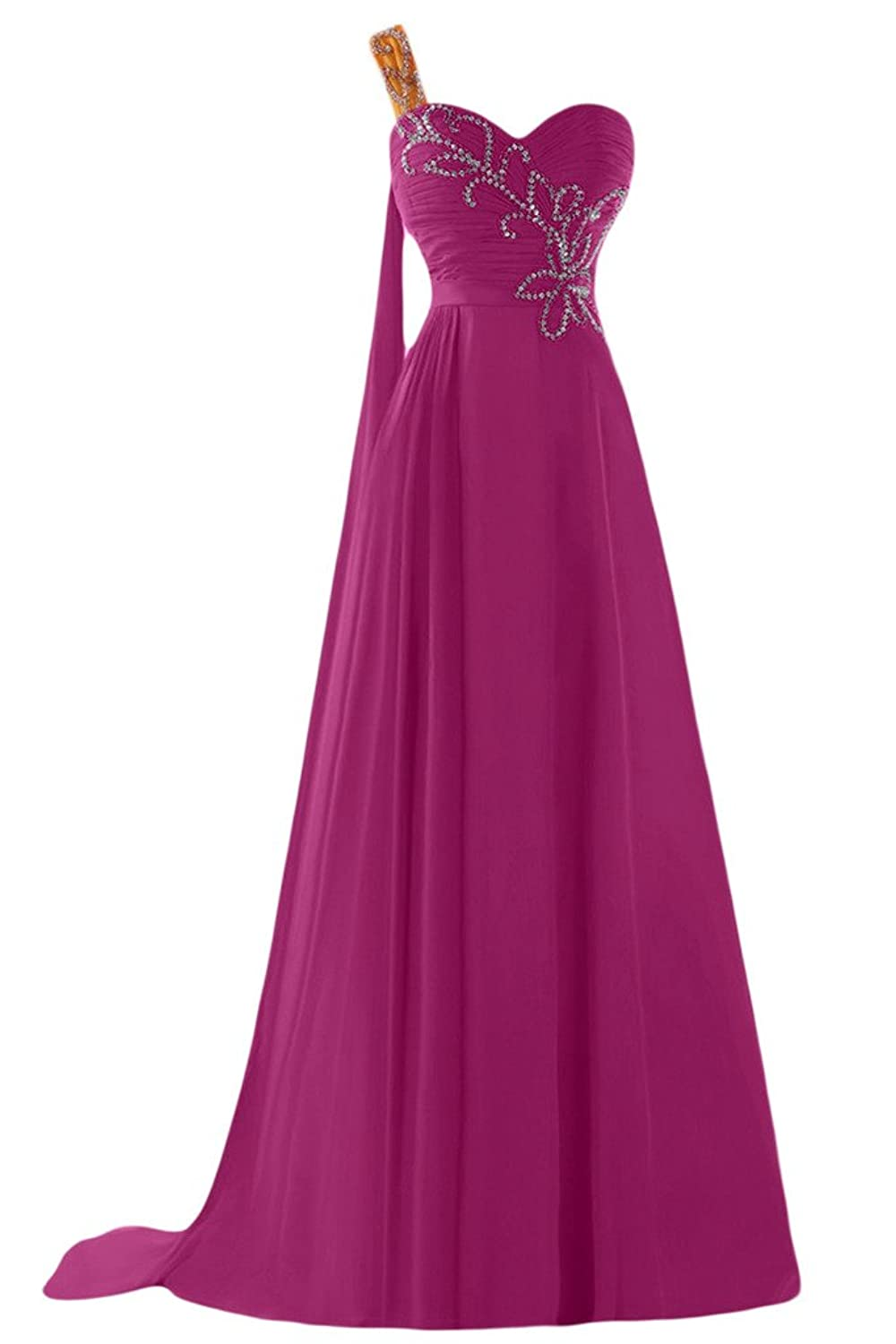 Sunvary A-line One-shoulder Beads Ruches Chiffon Evening Dresses Homecoming Gowns