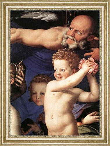 """Venus, Cupide and the Time [detail] by Agnolo Bronzino - 20"""" x 27"""" Framed Premium Canvas Print"""