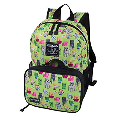 """JINX Minecraft Overworld Sprite Kids Backpack and Lunch Kit Combo (Green, 16"""")"""