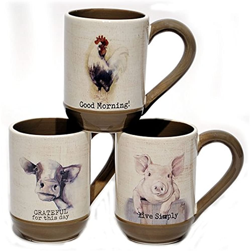 Young's Ceramic Farmhouse Coffee Mugs (Pig, Cow & Rooster ...