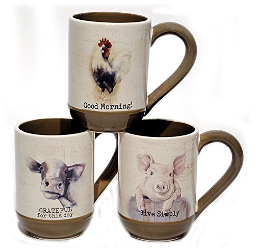 (Young's Ceramic Farmhouse Coffee Mugs (Pig, Cow & Rooster) - Set of 3)