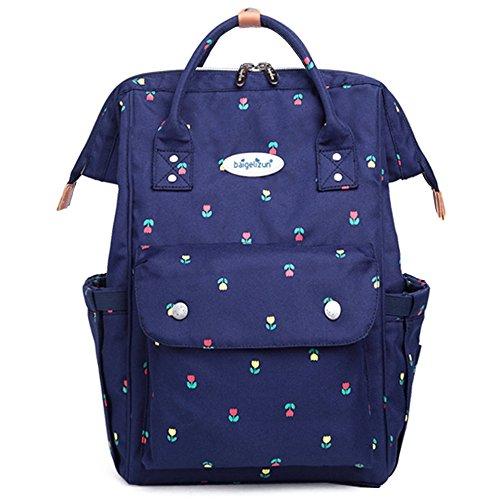 Bolso de la momia, bolso de múltiples funciones de la madre de la manera de gran capacidad, morral del hombro, bolso grande del bebé de la capacidad ( Color : Azul zafiro ) Blue flowers