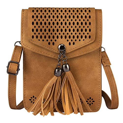 Small Cell Phone Purse, Techcircle Hollow Out Carved Crossbody Bag with Tassels Pendant and Adjustable Shoulder Strap for iPhone 8 Plus/Xs Max/Xr, Samsung Galaxy S9 / S8 / S7 Edge, Brown