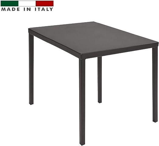 RD ITALIA - Mesa 90 x 90 de Metal Color Antracita para Exterior ...