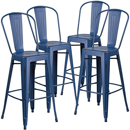 Flash Furniture 4 Pk. 30'' High Distressed Antique Blue Metal Indoor-Outdoor Barstool with Back