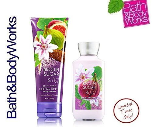 Bath & Body Works Brown Sugar and Fig 8 oz Body Lotion & 8 oz  Body Cream (Set of Two)