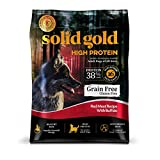 Solid Gold High Protein Grain and Gluten Free Dry Dog Food, Red Meat and Buffalo Recipe, Active Adult Dogs, All Sizes, 22lb Bag