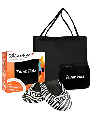Solemates Purse Pal Foldable Bowed Ballet Flats w/Expandable Tote Bag for Carrying Heels (Small (5-6.5), Zebra (White with Black Zebra Stripes))