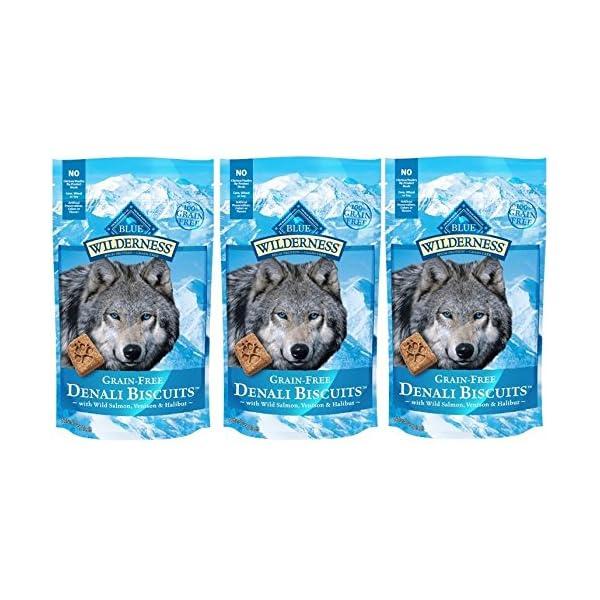 Blue Buffalo Wilderness Denali Biscuits Grain Free Dog Treats USA Made Salmon Venison Halibut