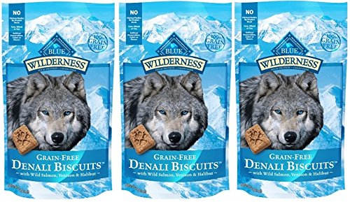 BLUE BUFFALO WILDERNESS DENALI BISCUITS GRAIN FREE DOG TREATS USA MADE SALMON VENISON HALIBUT ALL SIZES (3 Bags)