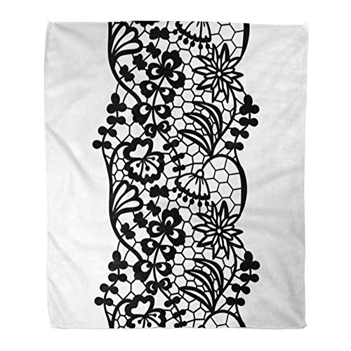 Emvency Throw Blanket Warm Cozy Print Flannel Edge Black Lacy Vintage Elegant Trim Lace Abstract Beautiful Border Crochet Comfortable Soft for Bed Sofa and Couch 60x80 Inches