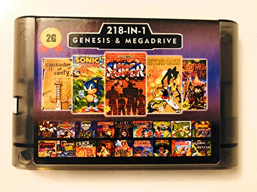 Sega Saturn Cartridge - 218 in 1 Game Card For Sega Megadrive Genesis with Shining Force II Langrisser II Sonic The Hedgehog 3 - 2G Capacity Battery Save
