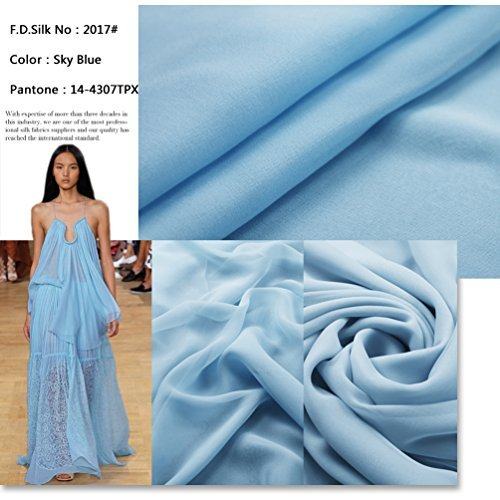 F.d.silk Sky Blue 100% Pure Silk Chiffon Fabric By the Yard, 48 Colors, Sky Blue Ch-017 (Silk Fabric Chiffon)