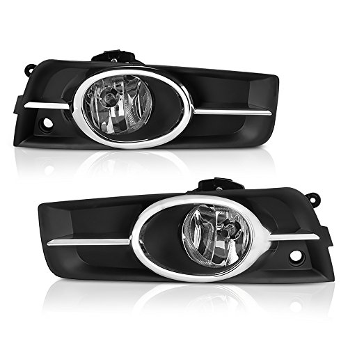 VIPMOTOZ Chrome Housing OE-Style Front Fog Light Driving Lamp Assembly For 2011-2015 Chevy Cruze & Limited Model - Bezel & Universal Wiring Included, Driver & Passenger Side