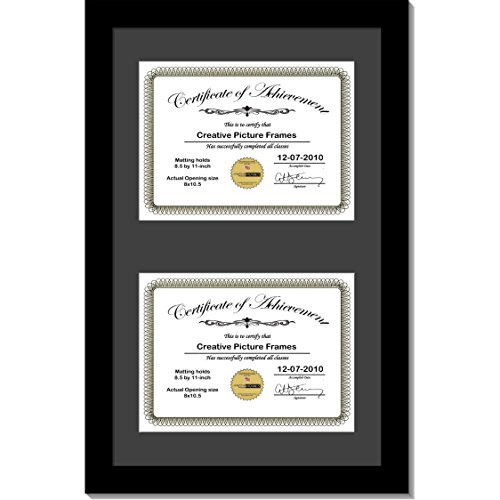 Double Frame University (CreativePF [14x20bk-b] Black Vertical Double Diploma Frame with 2 Opening Black Mat, Holds 2-8.5x11-inch Documents with Wall Hanger)
