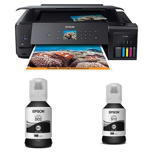 Epson Expression Premium ET-7750 EcoTank Wireless Wide-format 5-Color All-in-One Supertank Printer with Scanner, Copier with Black Auto-Stop Ink Bottle and Black Auto-Stop Ink Bottle by Epson