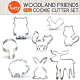 Woodland Animals Cookie Cutters | 8 Piece Boxed Set | Woodland Baby Shower and Party Decorations | Fox, Hedgehog, Owl, Squirrel, Raccoon, Deer, Bunny, Mushroom