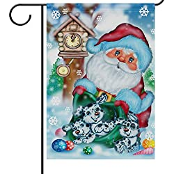 Christmas Santa Claus Dogs Garden Yard Flag Banner House Home Decor 28 x 40 inch, Winter Clock Snowflake Large Decorative Double Sided Welcome Flags for Holiday Wedding Party Outdoor Outside